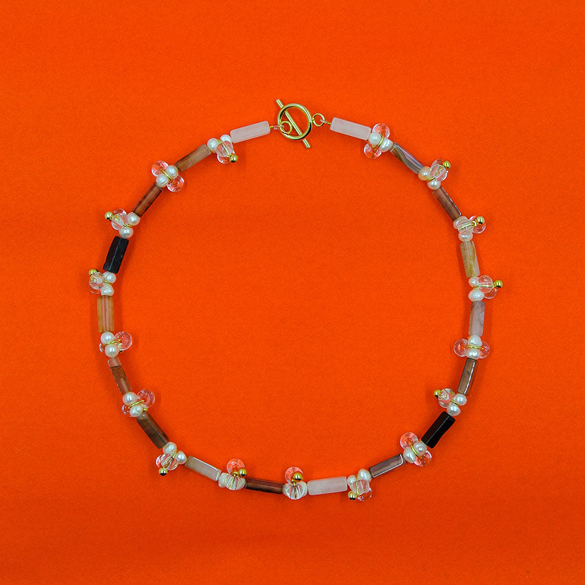 Block Necklace: Black Agate