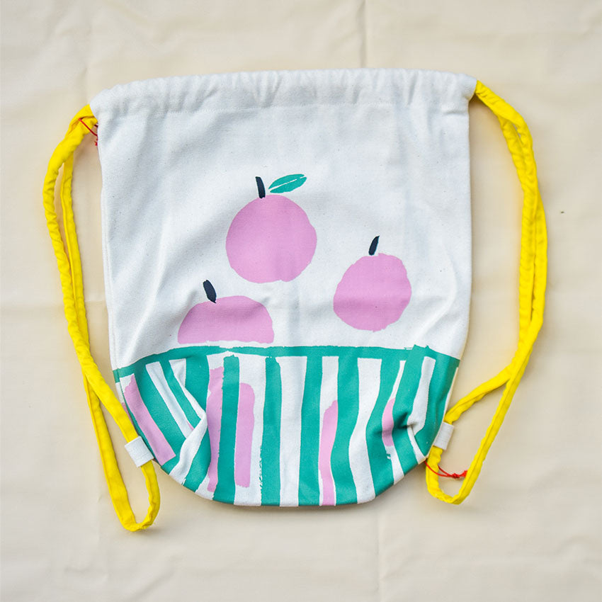 Apple Basket Drawstring Bag