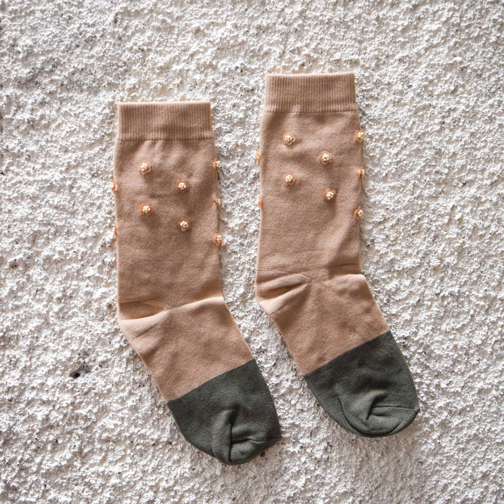 Socks Cream - Cream Green