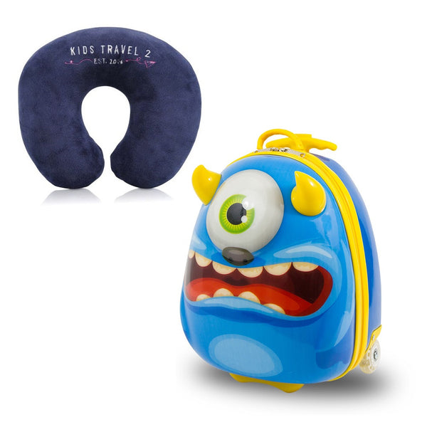 Kids Travel 2 Monster Children's Suitcase & Neck Pillow Bundle