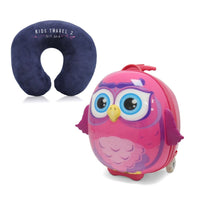 Kids Travel 2 Owl Children's Suitcase & Neck Pillow Bundle