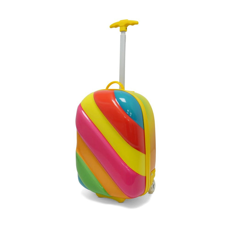 Kids Travel 2 Children's Striped Suitcase Pink Pop Handle