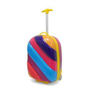 Kids Travel 2 Children's Striped Suitcase Purple Fizz Handle