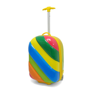 Kids Travel 2 Children's Striped Suitcase Tropical Candy Handle