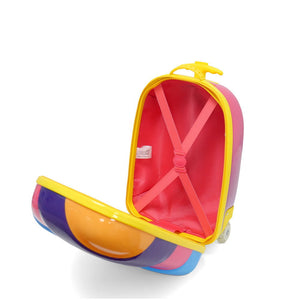 Kids Travel 2 Children's Striped Suitcase Purple Fizz Inside