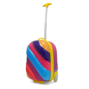 Kids Travel 2 Children's Striped Suitcase Purple Fizz Handle Extended