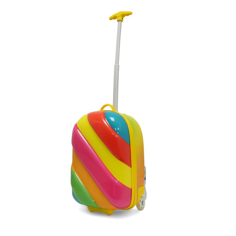 Kids Travel 2 Children's Striped Suitcase Pink Pop Handle Extended
