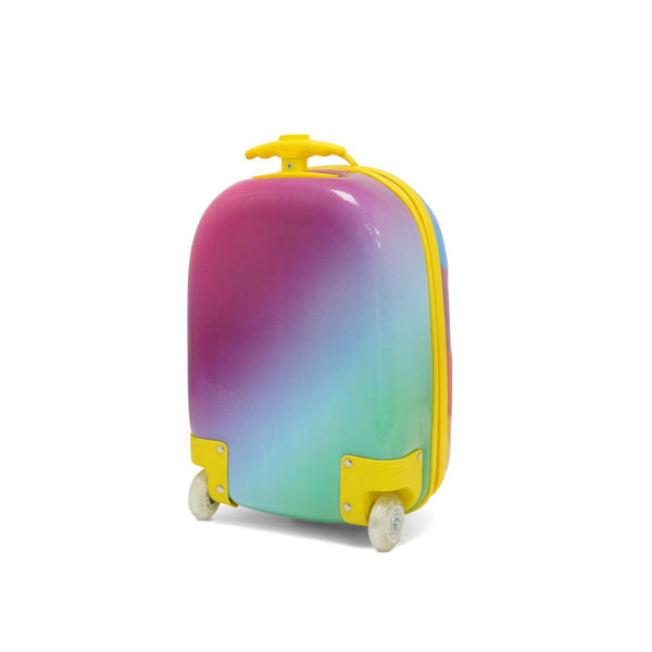 Kids Travel 2 Children's Striped Suitcase Purple Fizz Back
