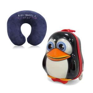 Kids Travel 2 Penguin Children's Suitcase & Neck Pillow Bundle