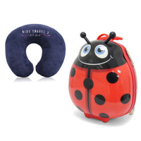 Kids Travel 2 Ladybird Children's Suitcase & Neck Pillow Bundle