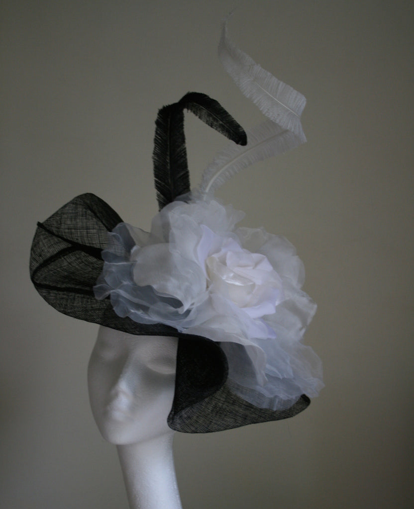 Black and White Hat with large Silk Rose from Andrea Neville-Rolfe Hats