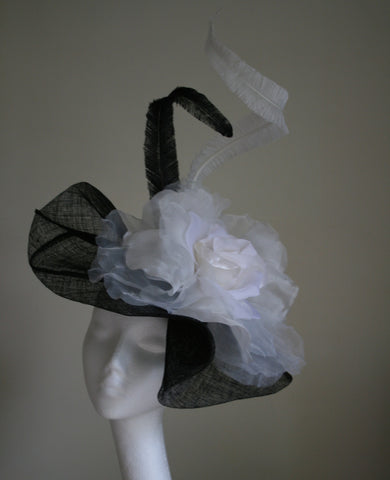 Black and White Hat with Large Silk Rose