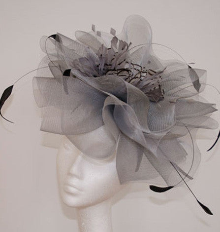 Silver grey crinoline with a feathers