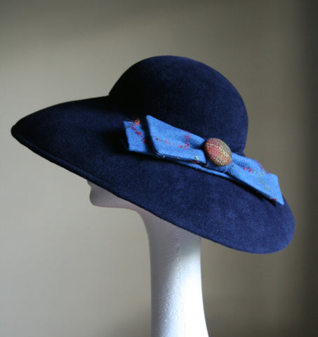 Dark Blue large felt hat with bow