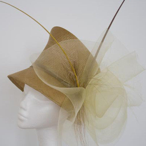 Bronze straw cloche hat with crinoline and quills