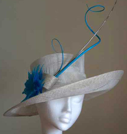 Sinamay hat with quills and a feather flower