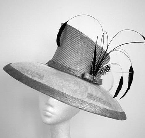 Silver grey sinamay and straw hat with black feathers