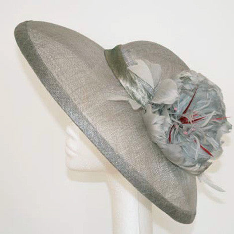 Silver grey sinamay hat with feather flower
