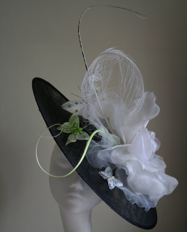 Black and White Hat with butterflies