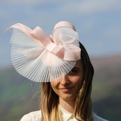 Orange sinamay hat from Dorset based milliner Andrea Neville-Rolfe Hats
