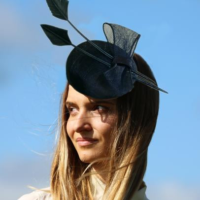 Wide brim sinamay hat with lace and silk trim from Dorset based milliner Andrea Neville-Rolfe Hats
