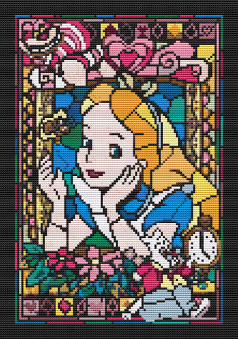 Alice in the Window counted Cross Stitch kit Disney Film characters