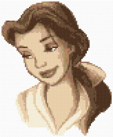 Beauty And The Beast- Belle in Sepia Counted Cross Stitch Kit