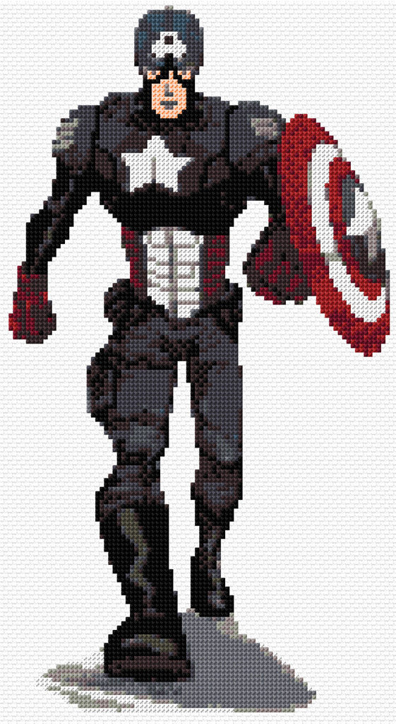 Captain America Superhero Counted Cross Stitch Kit