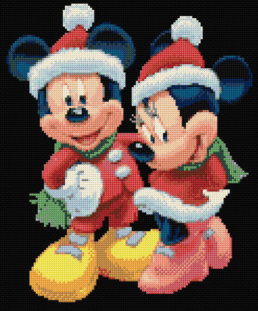 christmas mickey minnie counted cross stitch kit. Black Bedroom Furniture Sets. Home Design Ideas