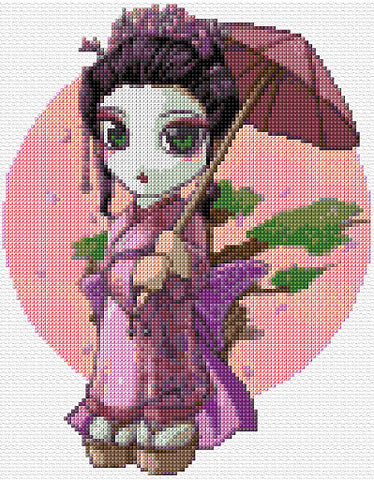 Cute Geisha Counted Cross Stitch Kit