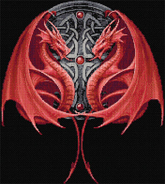 Double Dragons Counted Cross Stitch Kit