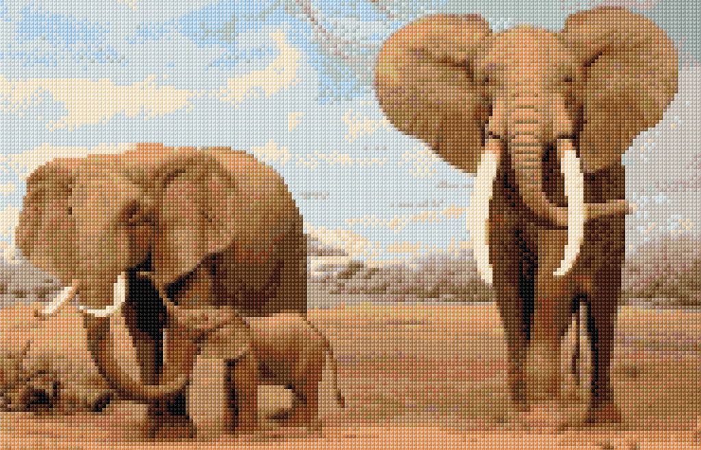 Elephant Family Full Counted Cross Stitch Kit