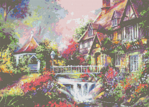 Cottage By Waterfall Counted Cross Stitch Kit