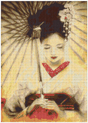 Japanese Geisha Girl  Counted Cross Stitch Kit