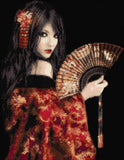 Geisha With Fan Counted Cross Stitch Kit