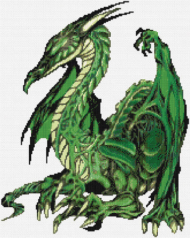 Green Dragon Counted Cross Stitch Kit