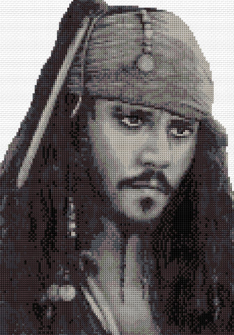 Capt. Jack Sparrow Counted Cross Stitch Kit - Pirates of the Caribbean Film