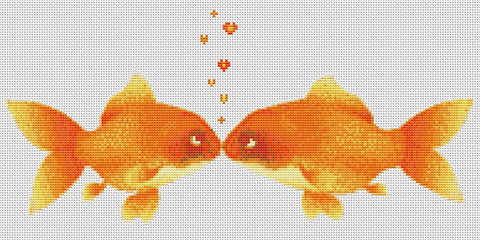 Kissing Goldfish Counted Cross Stitch Kit  Humour/Fish