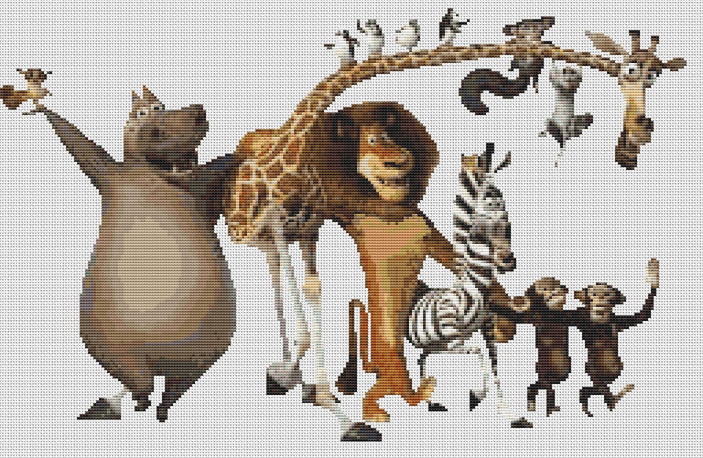 Madagascar Film Characters Counted Cross Stitch Kit Disney/Children