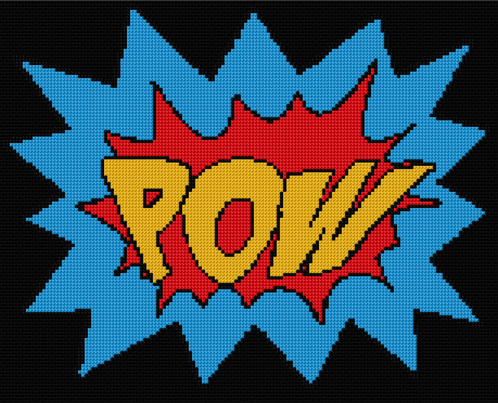 "Superhero Logo "" POW ! "" Counted Cross Stitch Kit"