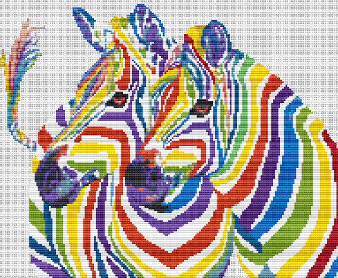 Rainbow Zebra Counted Cross Stitch Kit, Wildlife,Animals