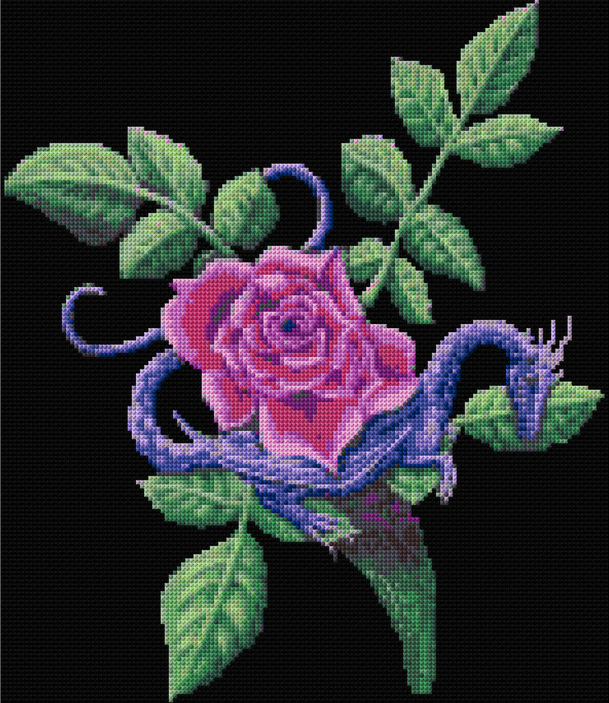 Rose and Dragon Fantasy Counted Cross Stitch Kit