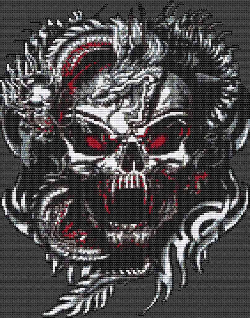 Serpent Skull Counted Cross Stitch Kit Horror/Cult/Fantasy