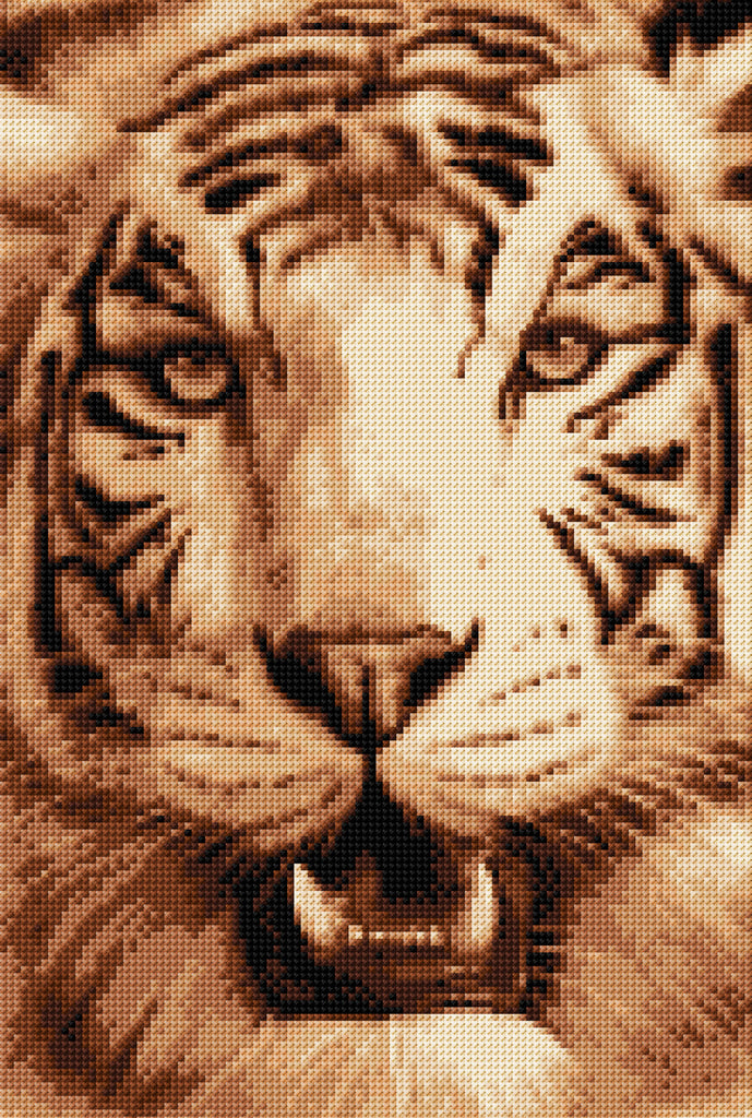 Tiger In Sepia Full Counted Cross Stitch Kit