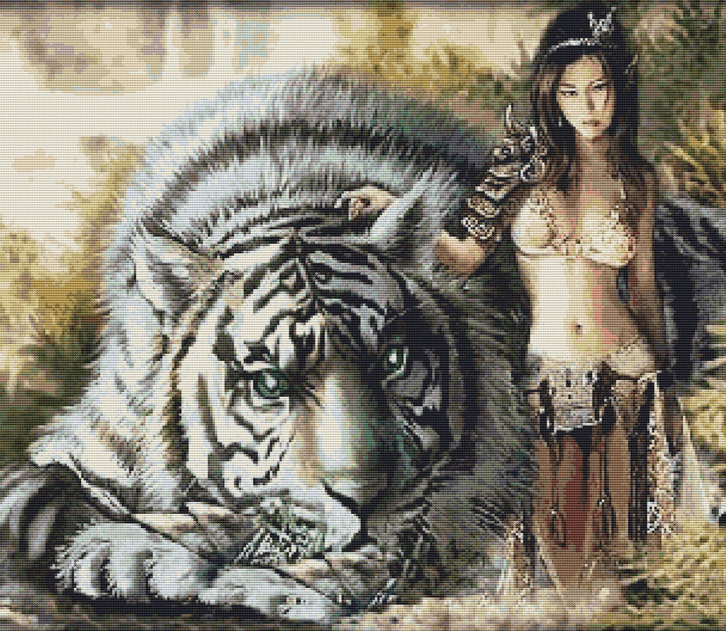 Tiger Warrior Counted Cross Stitch Kit