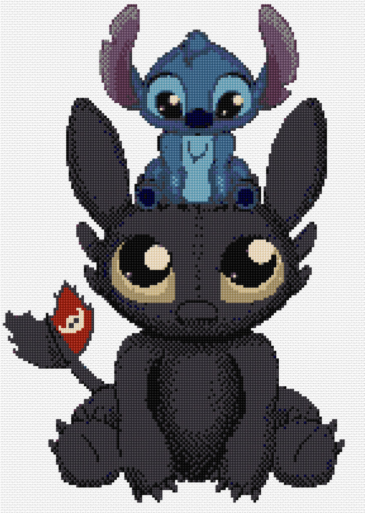 Toothless & Stitch Counted Cross Stitch Kit, Disney Film Characters