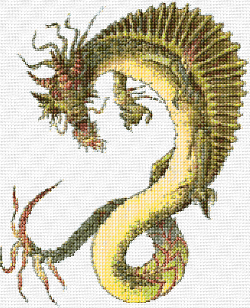 Yellow Dragon Counted Cross Stitch Kit