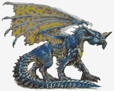 Blue Dragon Counted Cross Stitch Kit