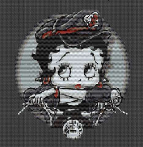 Biker Betty Boop Counted Cross Stitch Kit