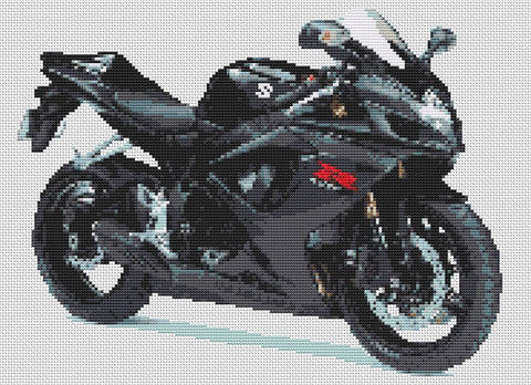 Suzuki GSXR 600 K6 Black Counted Cross Stitch Kit